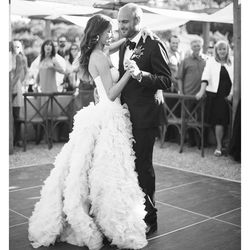 """""""We got married in a lemon orchard, so our setting took on a rustic yet glamorous vibe. When I spotted this <b>Monique Lhuillier</B> gown I immediately knew it was the perfect juxtaposition to the surrounding leaves. I added more train and had a custom be"""