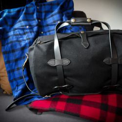 One of the new black wool duffels, with an Alaskan Guide shirt.