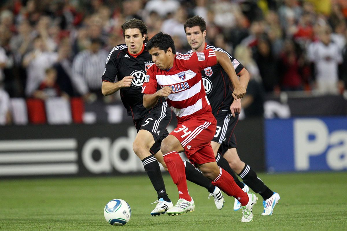 WASHINGTON, DC - MAY 7: Ruben Luna #34 of FC Dallas controls the ball against Dejan Jakovic #5 of D.C. United at RFK Stadium on May 7, 2011 in Washington, DC. (Photo by Ned Dishman/Getty Images)