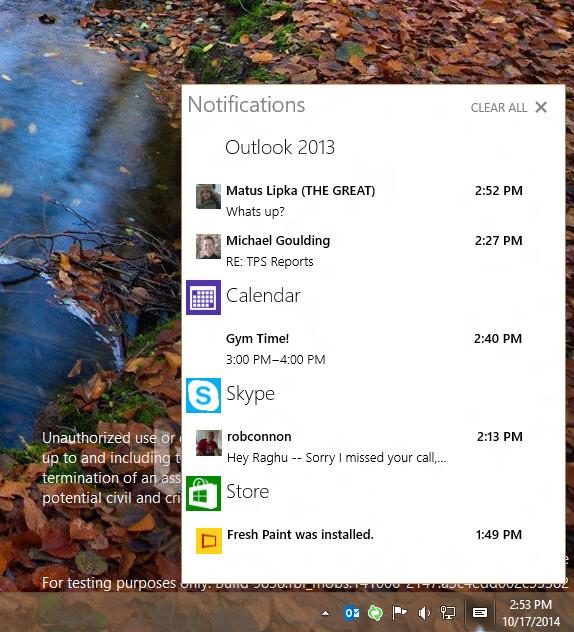 windows 10 notififcation center
