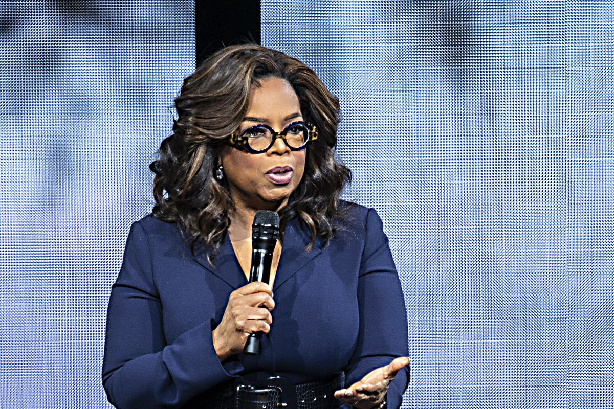 Oprah Winfrey speaks during Oprah's 2020 Vision: Your Life in Focus Tour at the Spectrum Center in January in Charlotte, North Carolina.