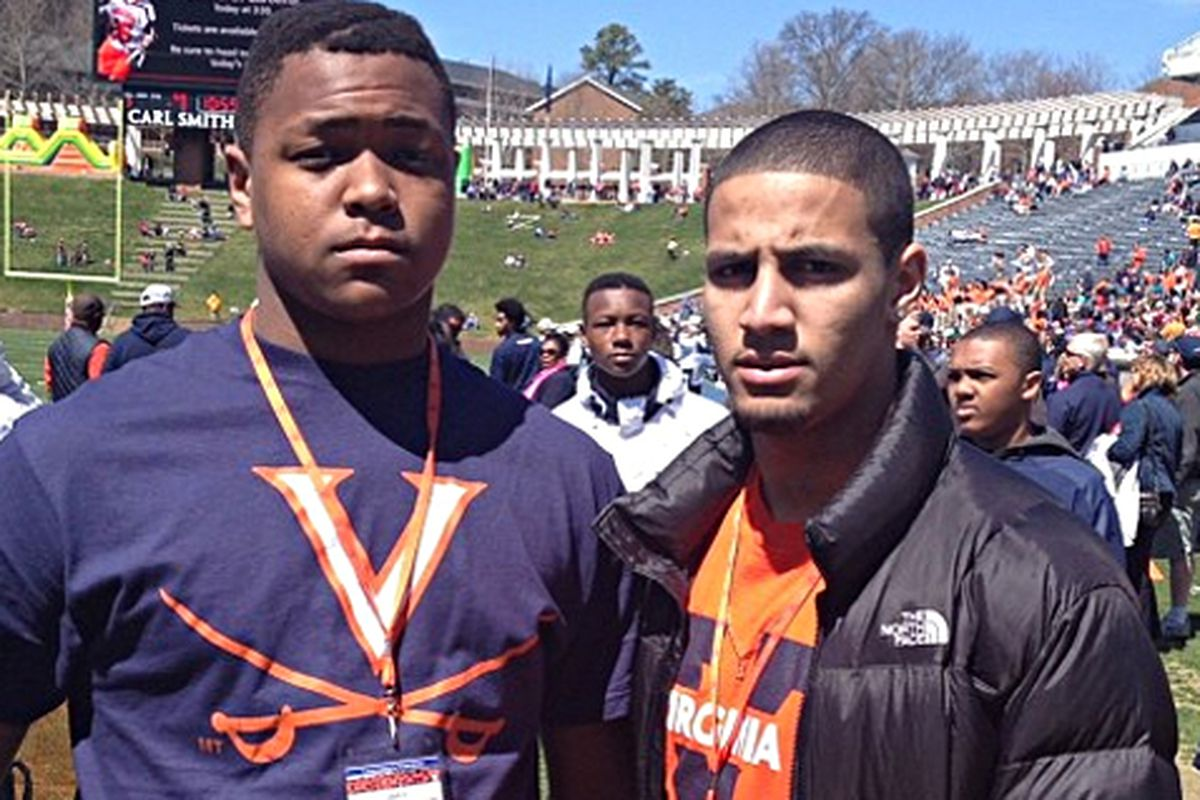 Jeremiah Clarke (left) with Virginia commit Quin Blanding at the Spring Game