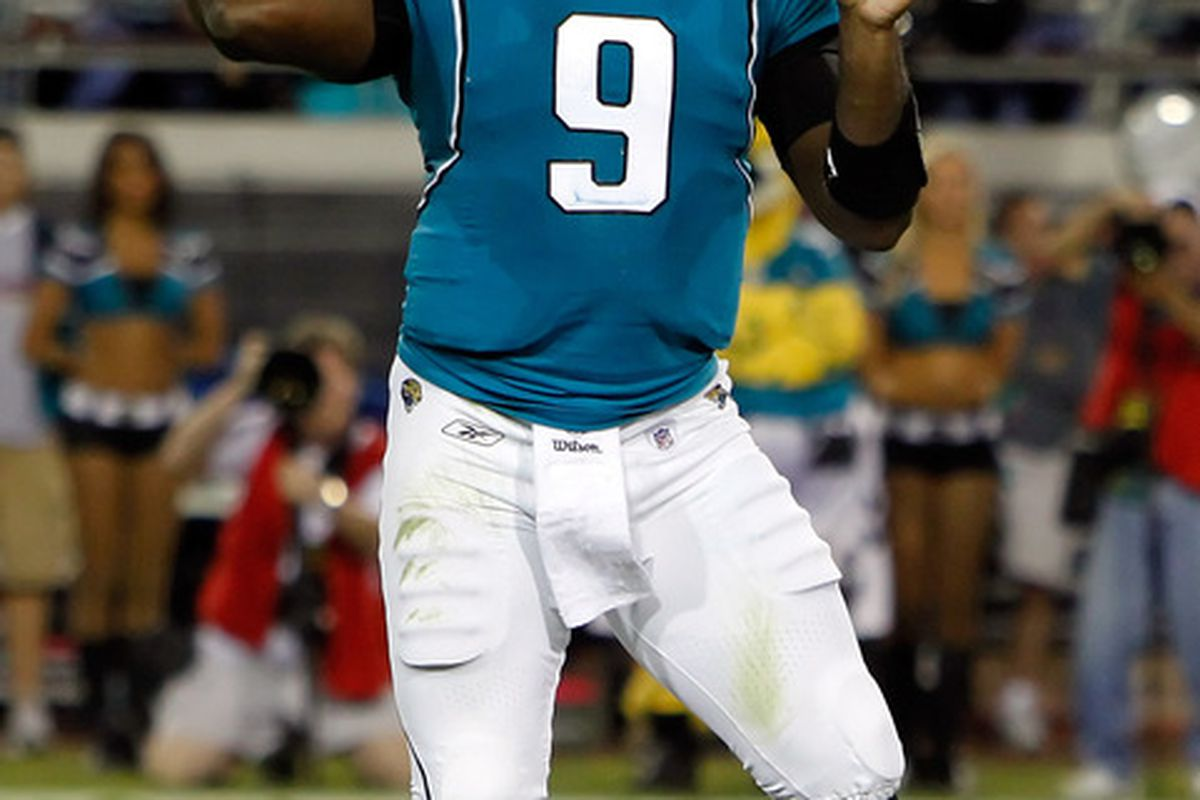 JACKSONVILLE FL - OCTOBER 18:  Quarterback David Garrard #9 of the Jacksonville Jaguars throws a pass against the Tennessee Titans during the game at EverBank Field on October 18 2010 in Jacksonville Florida.  (Photo by J. Meric/Getty Images)