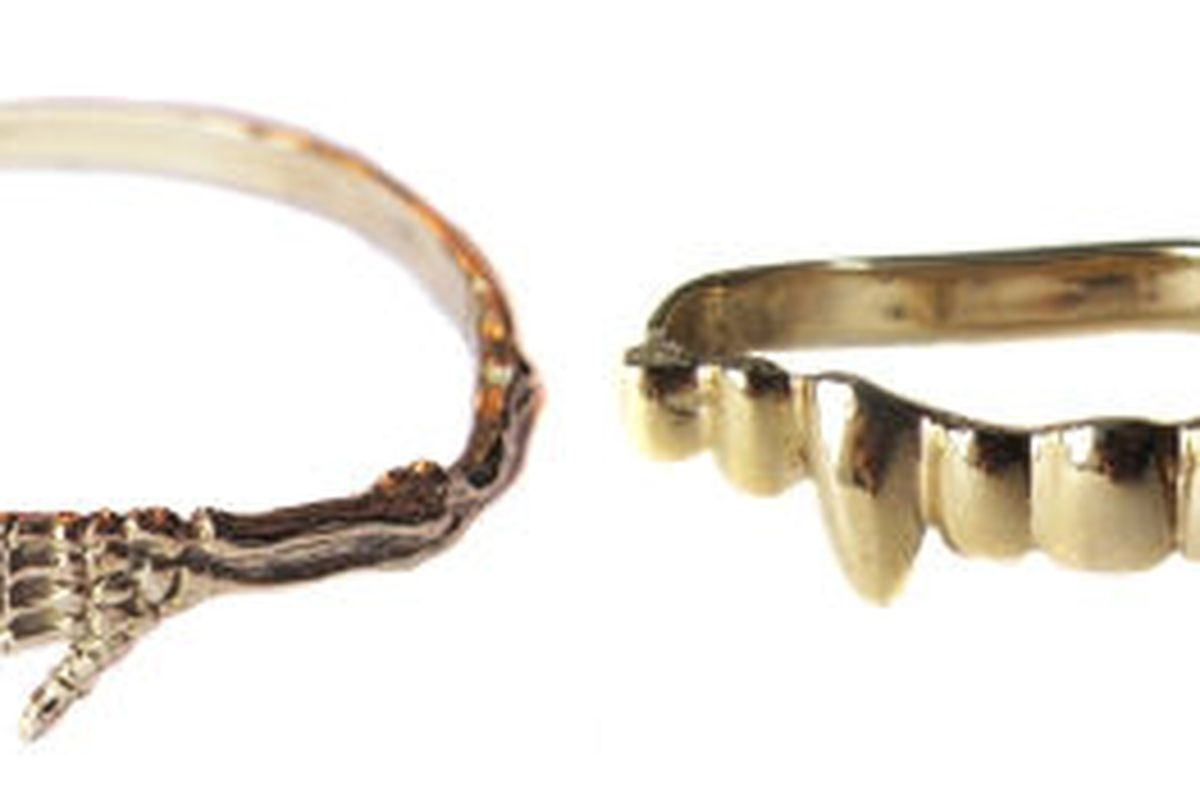 """Verameat <a href=""""http://www.verameat.com/product/skeleton-s-r-us"""">Skeleton's R Us</a> bracelet and <a href=""""http://www.verameat.com/product/vampire-desire"""">Vampire Desire</a> three-finger ring"""