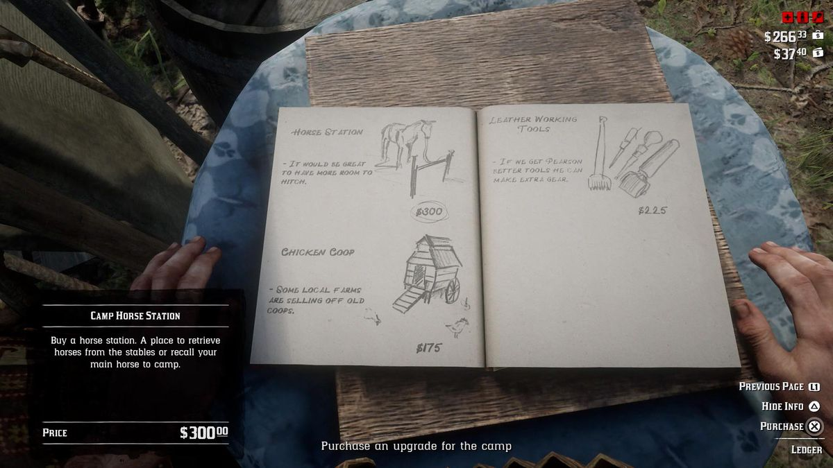 Red Dead Redemption 2 - purchasing a camp upgrade