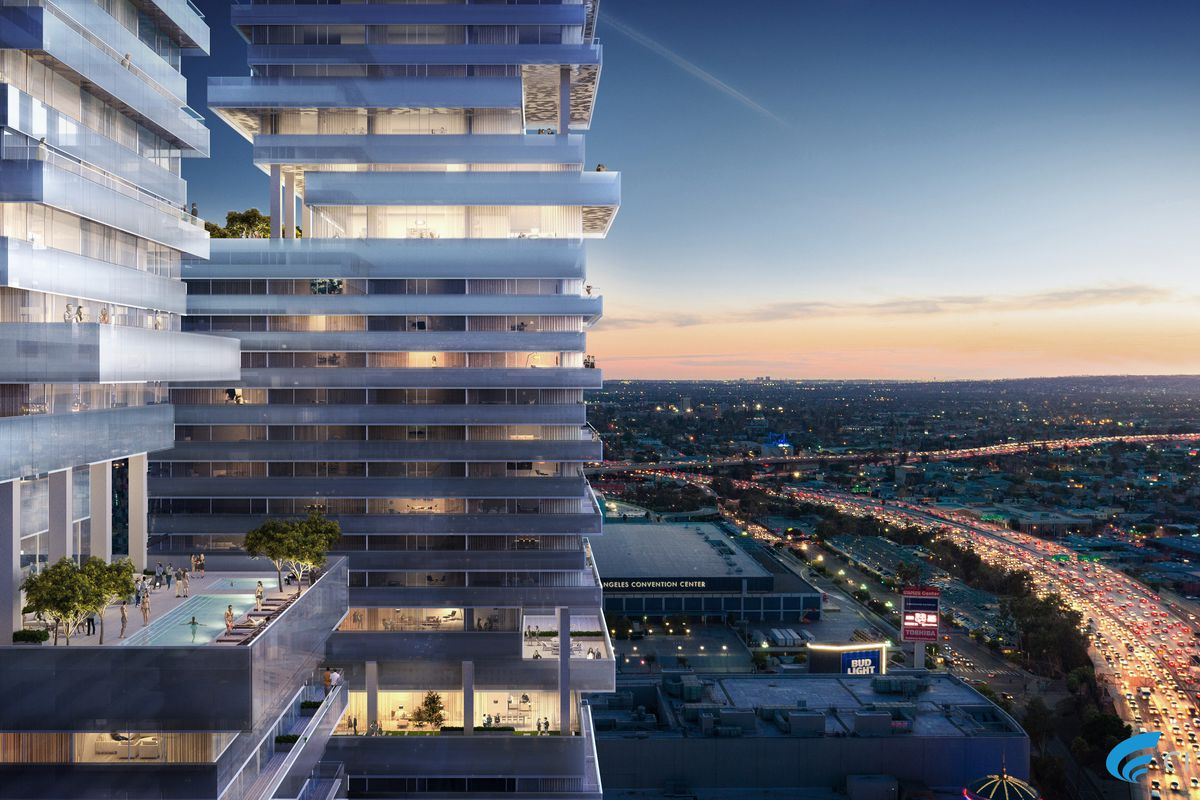 View of towers with pool deck and view of 110 freeway