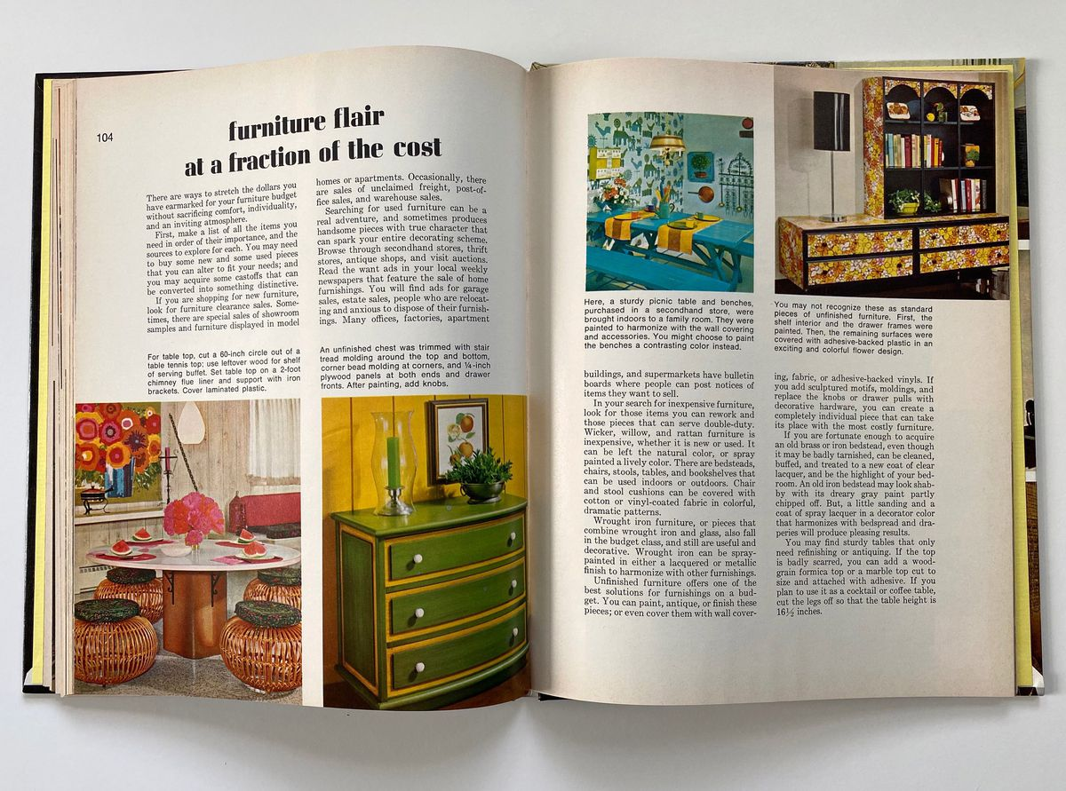 Brightly colored and patterned furniture from the 1960s and '70s.