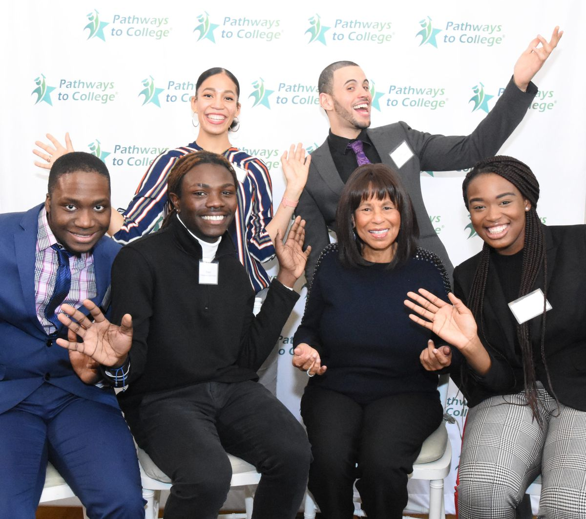 Judith Berry Griffin (front center) started Pathways to College in Newark in the 1990s.