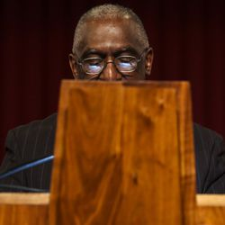 Rev. France Davis, pastor of Calvary Baptist Church in Salt Lake City, delivers a sermon on Sunday, Dec. 22, 2019. Rev. Davis is planning to retire at the end of the year after having been pastor of the church since 1974.