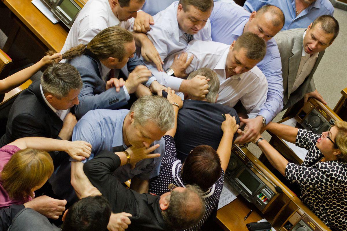 A fistfight on the floor of the Ukrainian legislature on July 23.