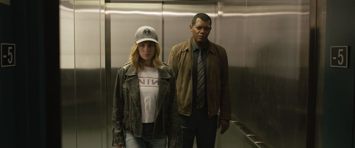 captain marvel - brie larson and samuel l jackson