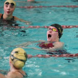 Davis' Lauren Hall reacts after winning the 500yard freestyle in the 6A girls swim championship at Kearns Oquirrh Park Fitness Center in Kearns on Saturday, Feb. 20, 2021.