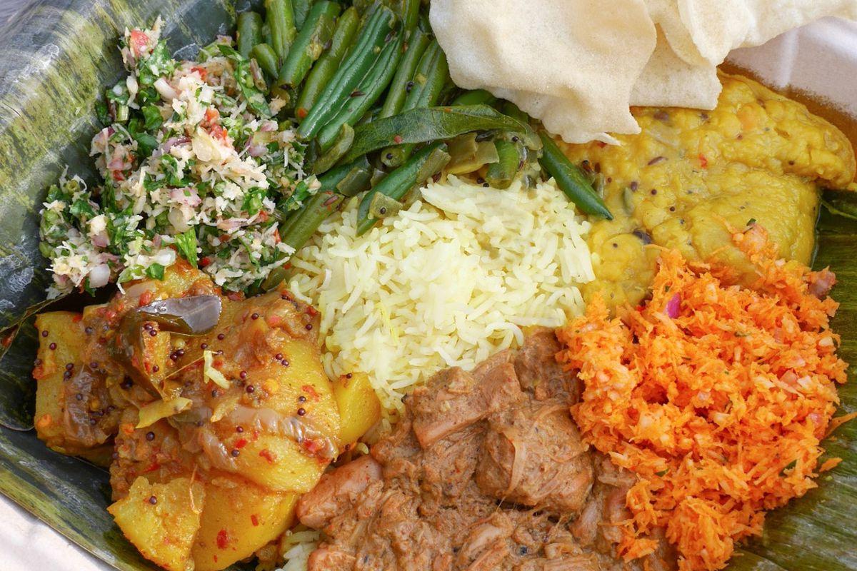 A photo of Mirisata Sri Lankan rice and curry plate