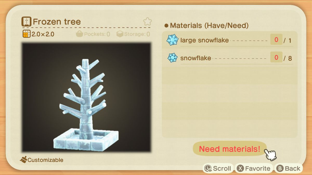 An Animal Crossing recipe for a Frozen Tree