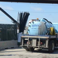 11:14 a.m. Porta Potty service truck backing in on Waveland -