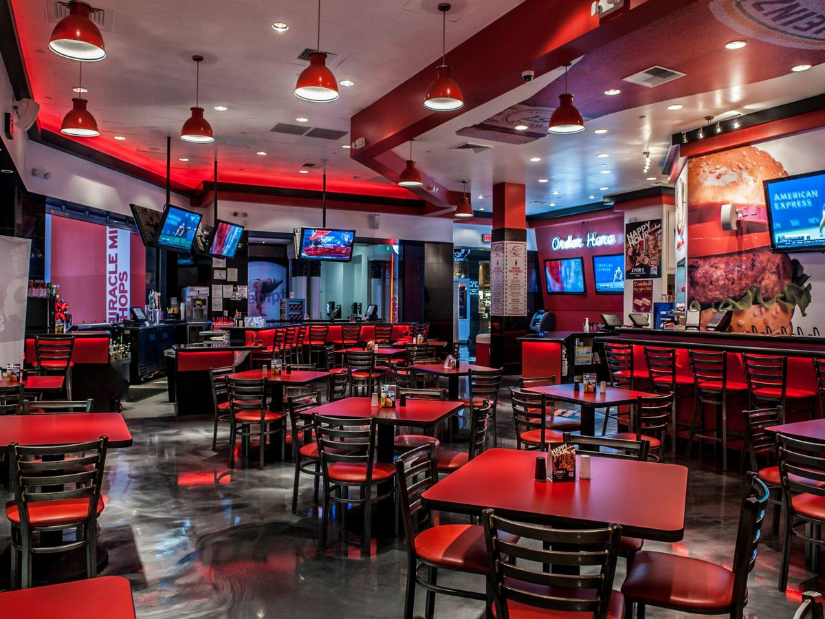 A red interior of a restaurant