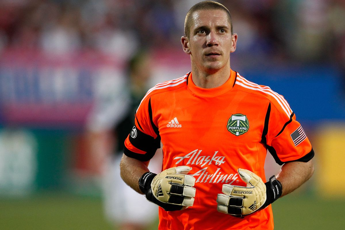 FRISCO, TX - JULY 21:  Troy Perkins #1 of the Portland Timbers reacts after giving up a goal to FC Dallas at FC Dallas Stadium on July 21, 2012 in Frisco, Texas. FC Dallas beat the Portland Timbers 5-0. (Photo by Tom Pennington/Getty Images)