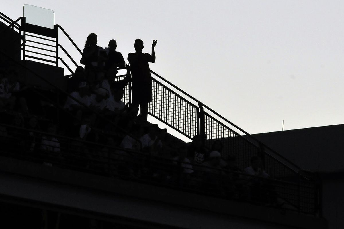 CLEVELAND, OH - AUGUST 11: Fans in the upper deck cheer during the fifth inning of the game between the Cleveland Indians and the Detroit Tigers at Progressive Field on August 11, 2011 in Cleveland, Ohio. (Photo by Jason Miller/Getty Images)