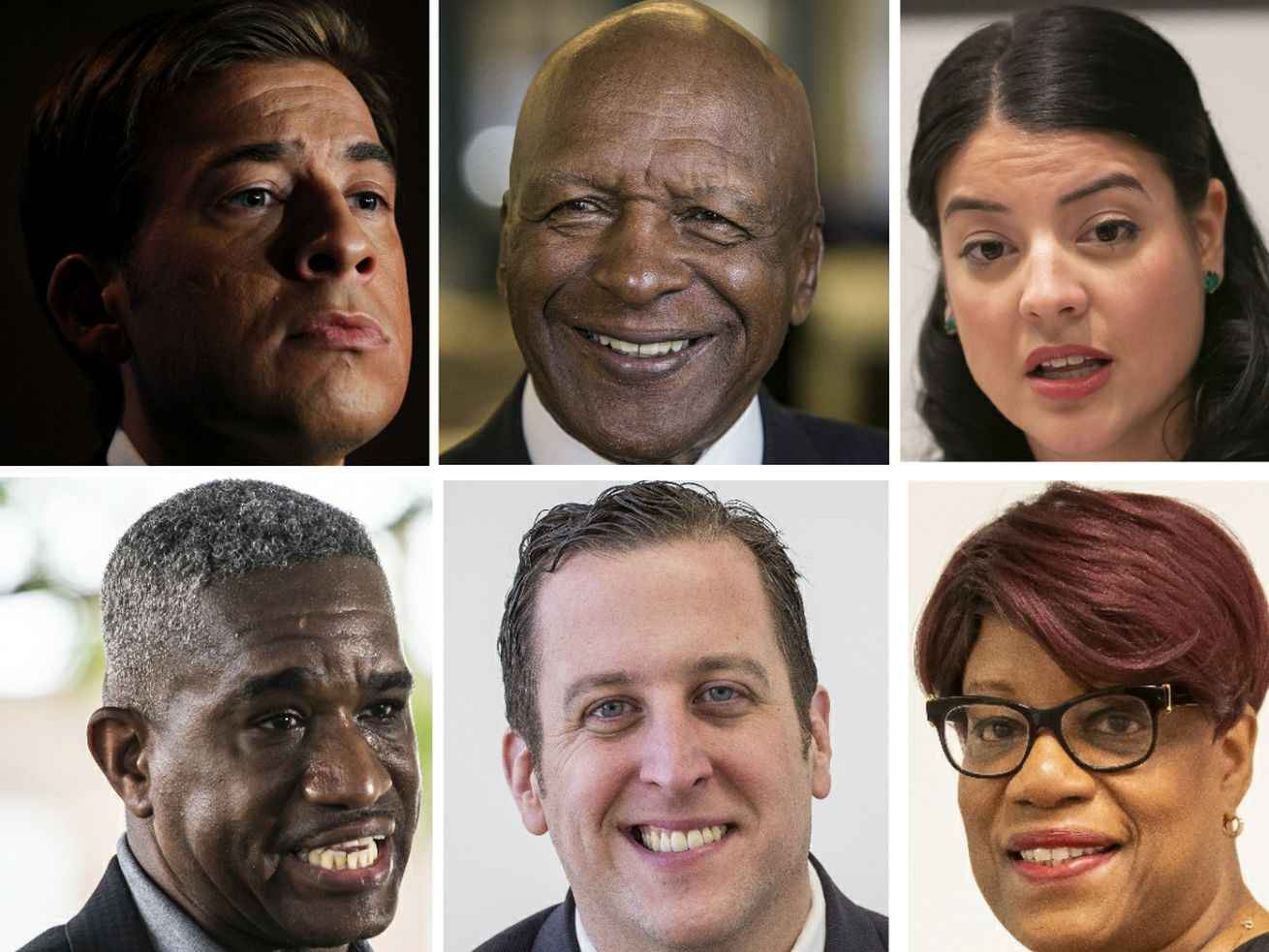 Illinois Secretary of State Jesse White, top row center, in 2018; and the Democrats vying to succeed him, clockwise from top left, former state Treasurer Alexi Giannoulias in 2010; City Clerk Anna Valencia in 2018; Ald. Pat Dowell (3rd) in 2019; State Sen. Michael Hastings in 2016; Ald. David Moore (17th), on June 29, 2020.