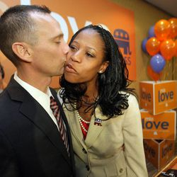 Republican 4th Congressional District candidate Mia Love concedes the race and  kisses her husband Jason  at the Hilton  in Salt Lake City  Wednesday, Nov. 7, 2012.