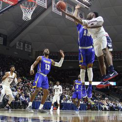 The Morehead State Eagles take on the UConn Huskies in a men's college basketball game at Gampel Pavilion in Storrs, CT on November 8, 2018
