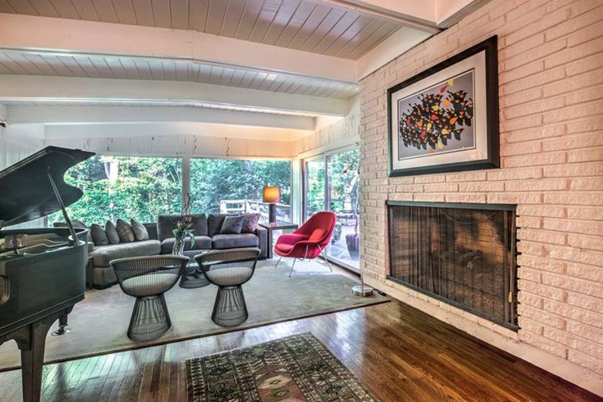 Inside a midcentury modern home for sale in Buckhead Atlanta area right now.