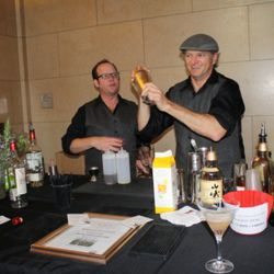 Scott Beattie and H. Joseph Ehrmann shaking things up at the H.M.S. Cocktails booth.
