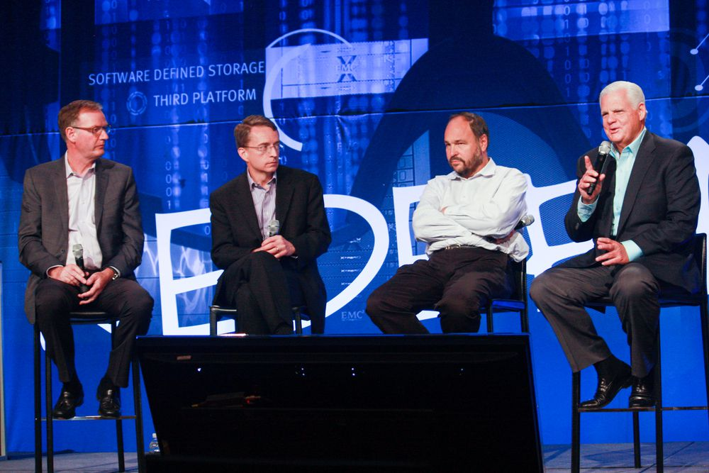 David Goulden, Pat Gelsinger, Paul Maritz and Joe Tucci (left to right) at an EMC event in 2014