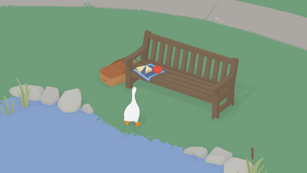 The sandwich and apple on a bench in Untitled Goose Game