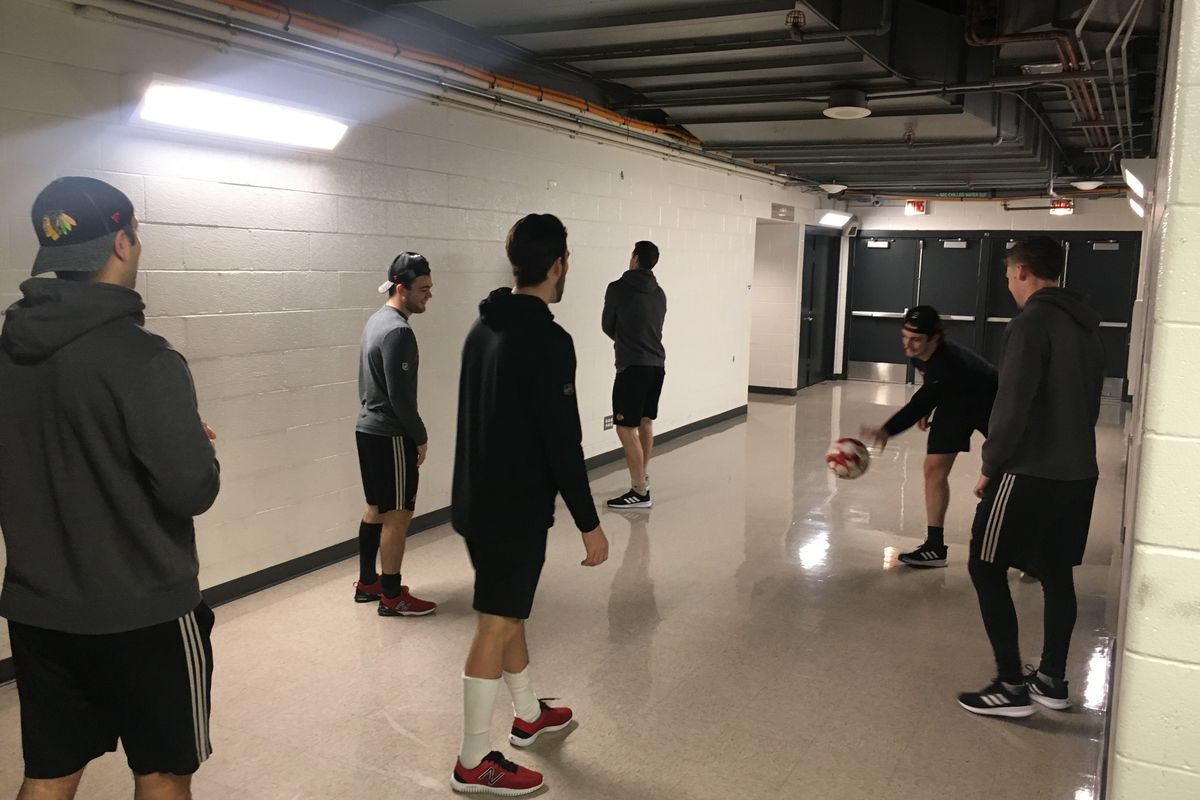 Chicago Blackhawks: Pregame soccer — called 'two-touch' — the best warmup of all