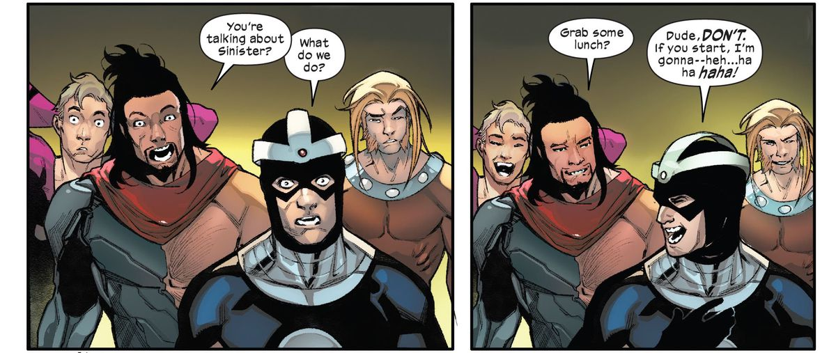 The Hellions react to the news that Mister Sinister is in a bind by laughing and suggesting they go grab lunch, in Hellions #9, Marvel Comics (2021).