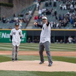 A.J. Pierzynski, catcher for the White Sox during the 2005 World Series, throws out the first pitch. | Erin Brown/Sun-Times