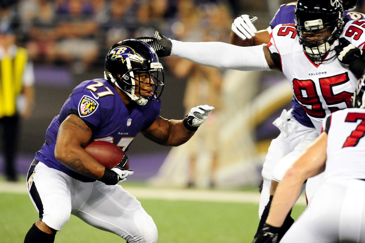 Ray Rice didn't have much room to run against Atlanta, finishing with 10 yards on eight carries.
