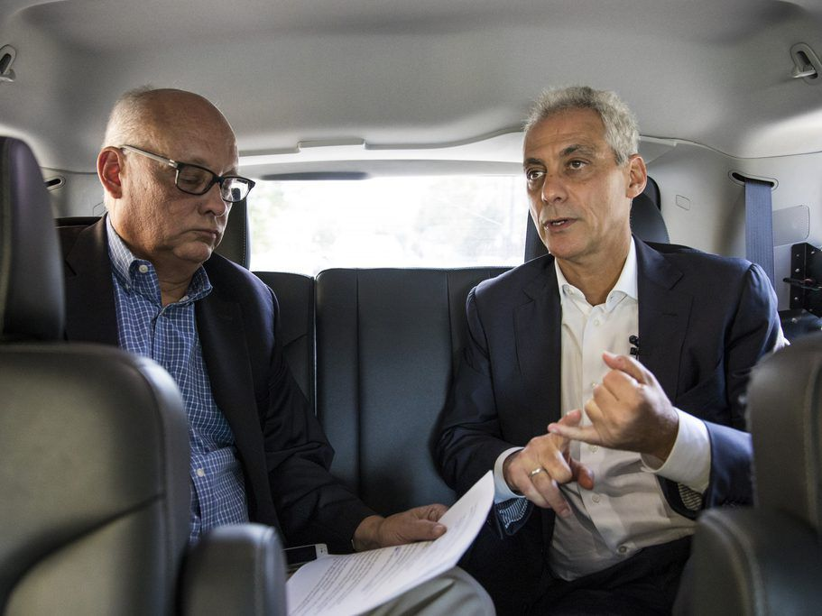 Chicago Sun-Times Columnist Mark Brown interviews Mayor Rahm Emanul in the back seat of the mayor's Chevrolet Tahoe, Tuesday afternoon, Sept. 4, 2018. | Ashlee Rezin/Chicago Sun-Times