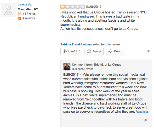 Le Cirque Yelp review