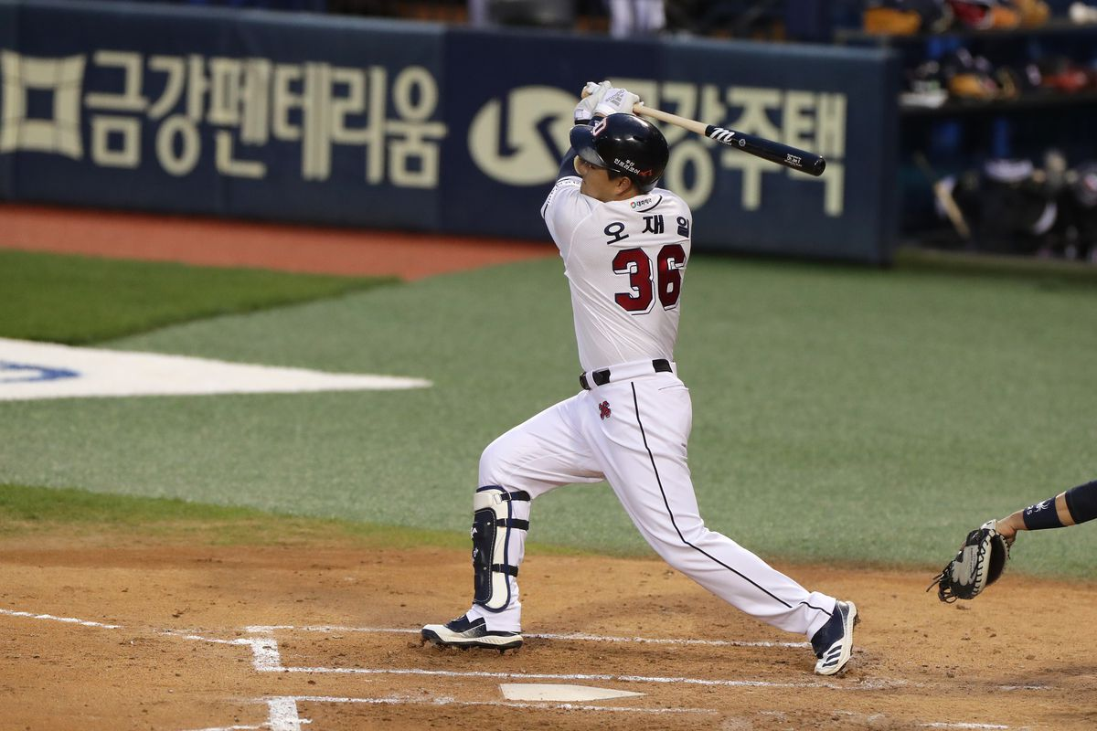 Infilder Oh Jae-Il of Doosan Bears bats in the top of the second inning during the KBO League game between NC Dinos and Doosan Bears at the Jamsil Baseball Stadium on May 19, 2020 in Seoul, South Korea.
