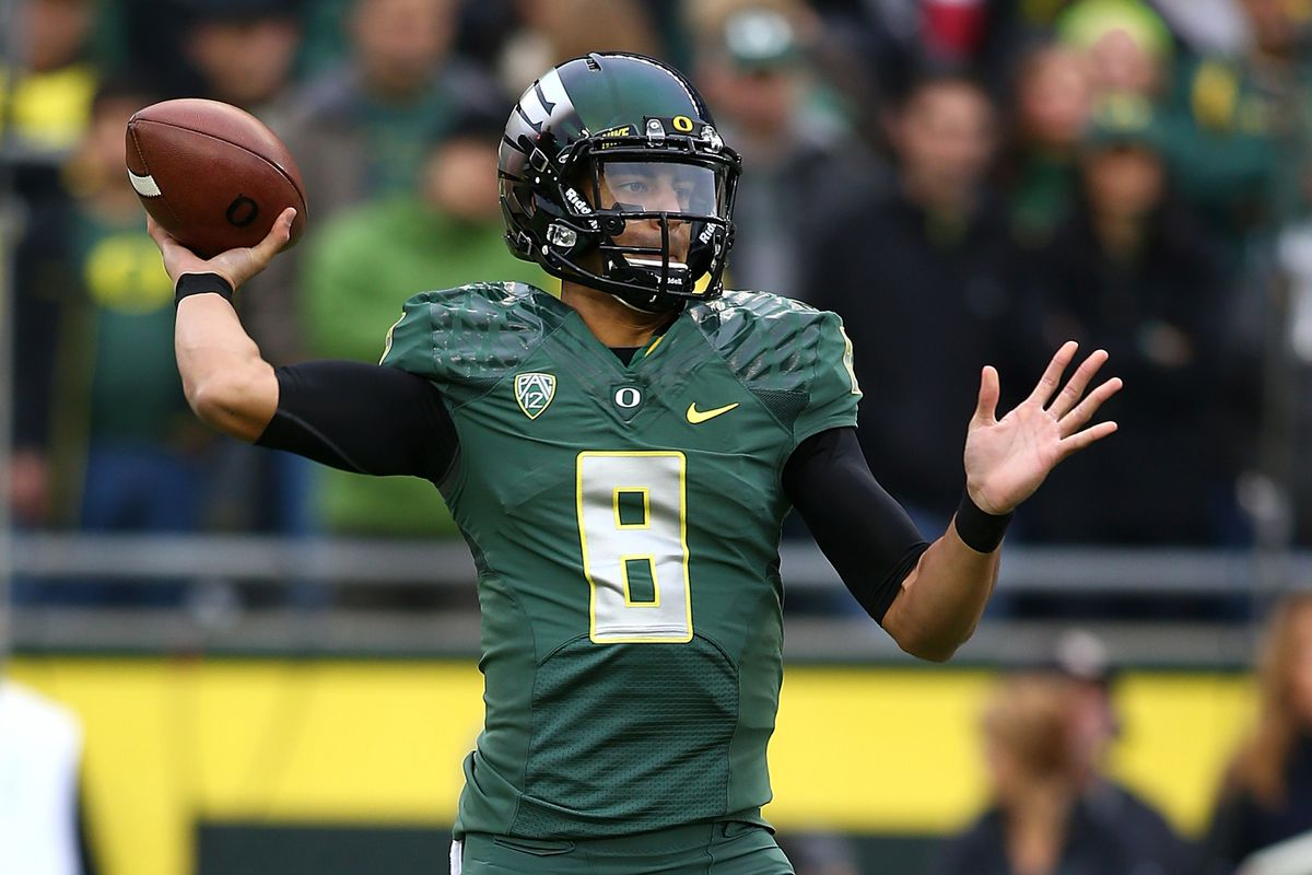 Oregon's Marcus Mariota leads Oregon in search of a berth in the BCS National Championship Game, as the Ducks visit Stanford this week.