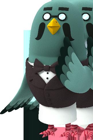 a pigeon wearing a waistcoat