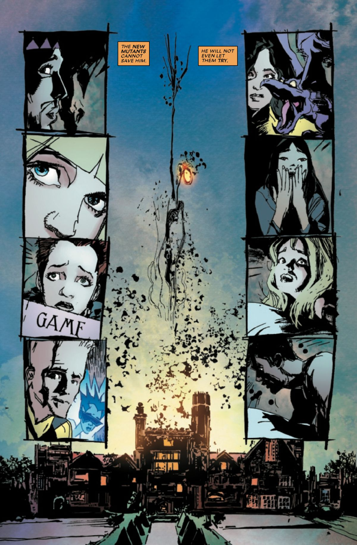 Warlock rises from the structure of the Xavier mansion as the New Mutants react with concern, in New Mutants: War Children #1, Marvel Comics (2019).
