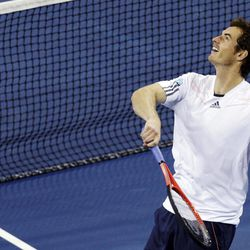 Andy Murray, of Britain, watches the flight of a ball he fired into the stands after defeating Milos Raonic, of Canada, 6-4, 6-4, 6-2 in the fourth round of play at the U.S. Open tennis tournament, Monday, Sept. 3, 2012, in New York.
