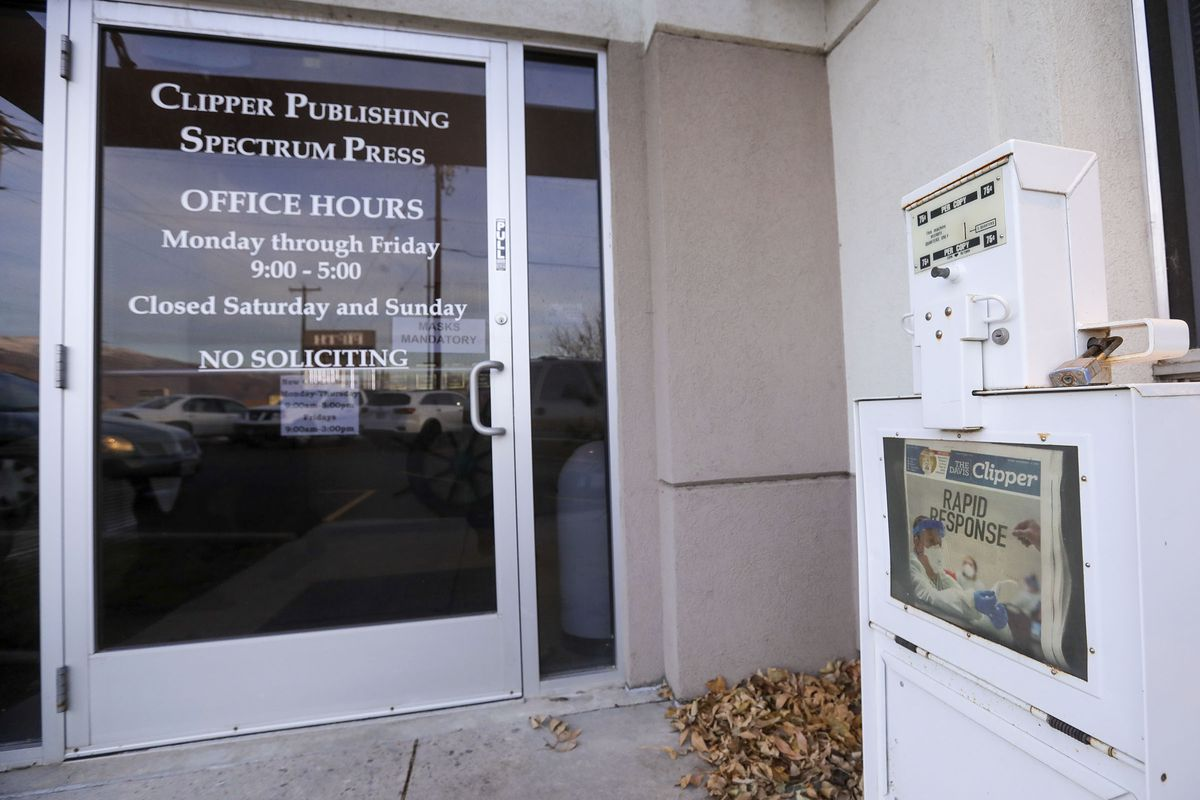 A Davis County Clipper newspaper box is pictured outside of the Clipper Publishing Co. in Woods Cross on Monday, Nov. 16, 2020. The Davis County Clipper will cease publication Dec. 4 after 129 years.