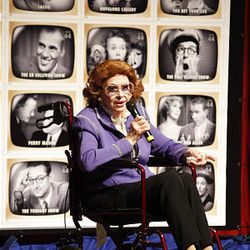 """Actress Jayne Meadows, 90, wife of the late Steve Allen, praises the TV Academy & United State Postal Service at the dedication ceremony for the """"Early TV Memories"""" commemorative stamps at the Television Academy in Los Angeles on Tuesday."""