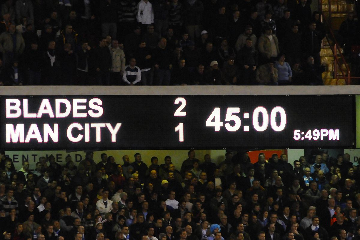 The scoreboard shows Sheffield United's