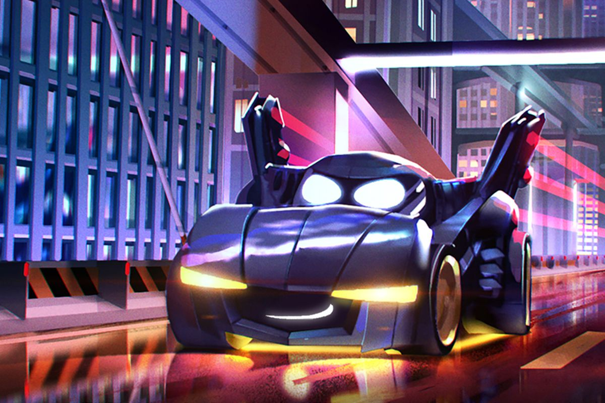 Bam, a sentient Batmobile, with a smirk and eyes, in promotional art from Batwheels.