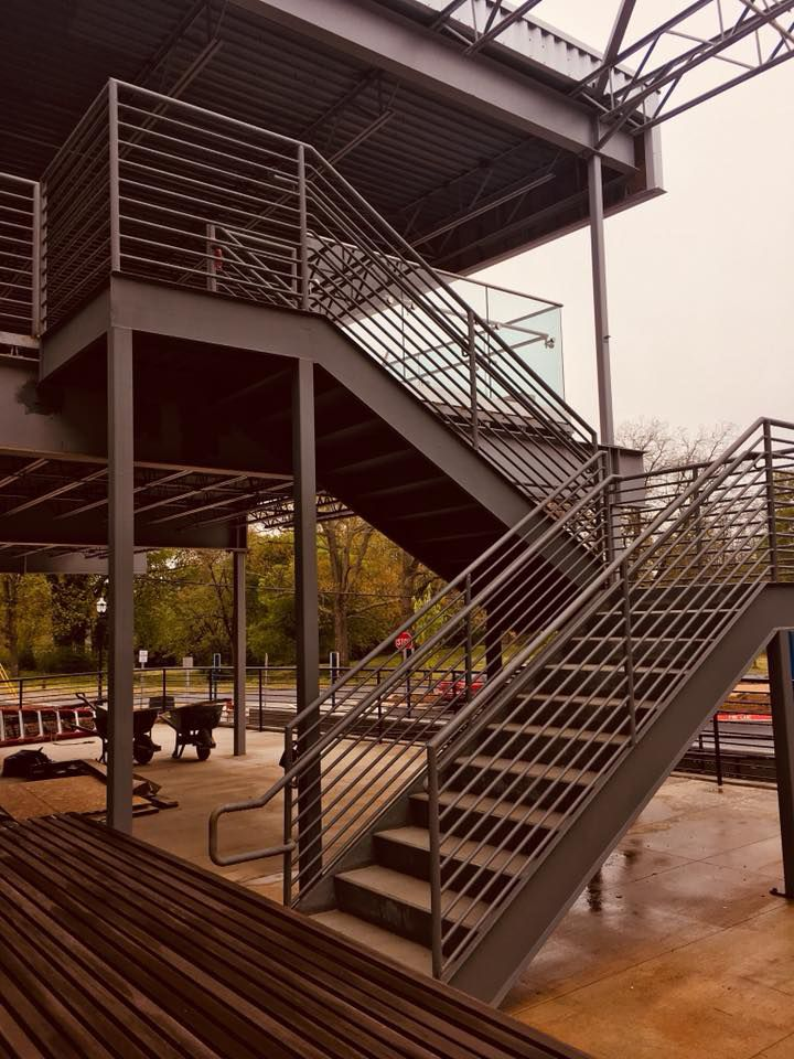 Stairway leading to the outdoor bar