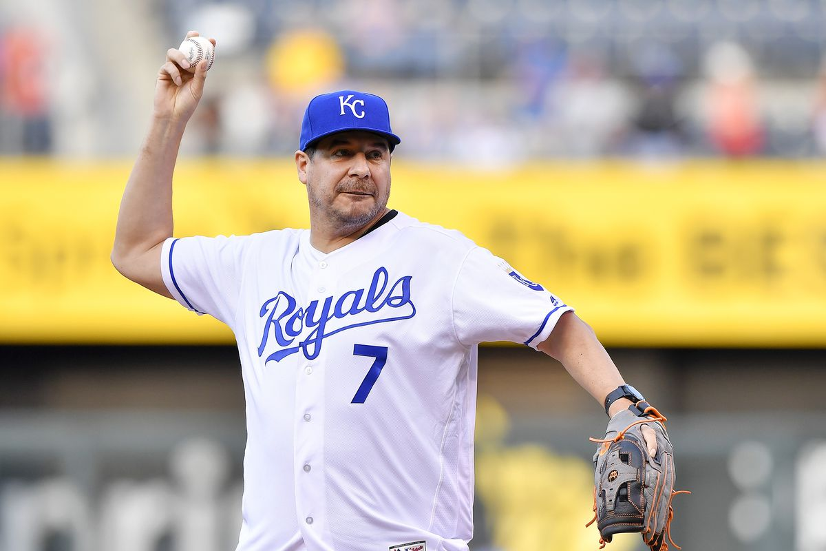 Sprint CEO Marcelo Claure, wearing a Royals baseball jersey, throws out the ceremonial first pitch as the Kansas City Royals play the Seattle Mariners.