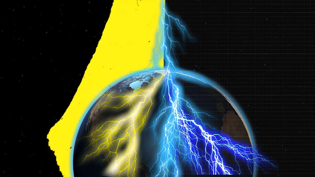 Illustration of lightning amid darkness.