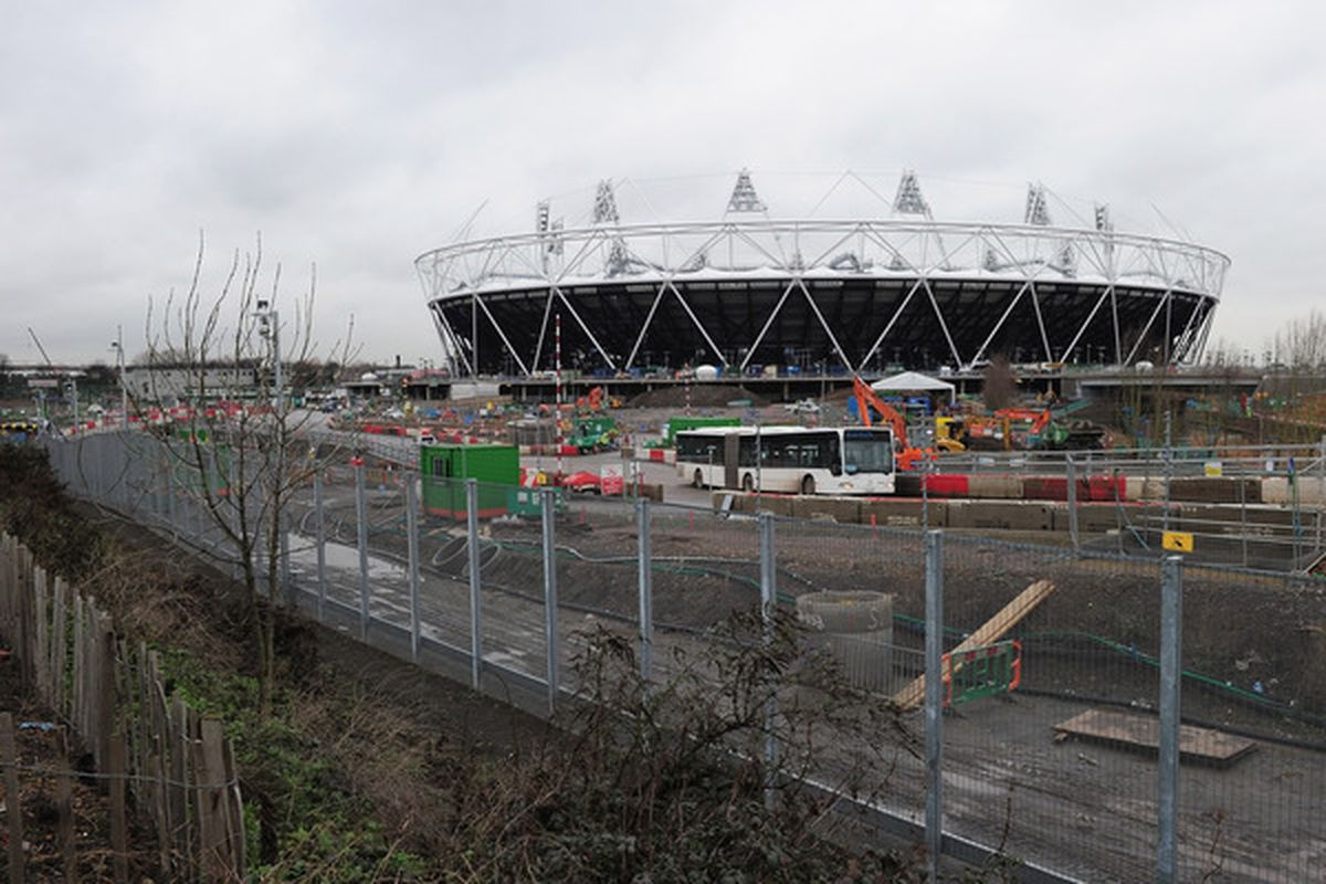 LONDON ENGLAND - JANUARY 12:  Work continues on the London 2012 Olympic Stadium on January 12 2011 in London England.  (Photo by Shaun Botterill/Getty Images)