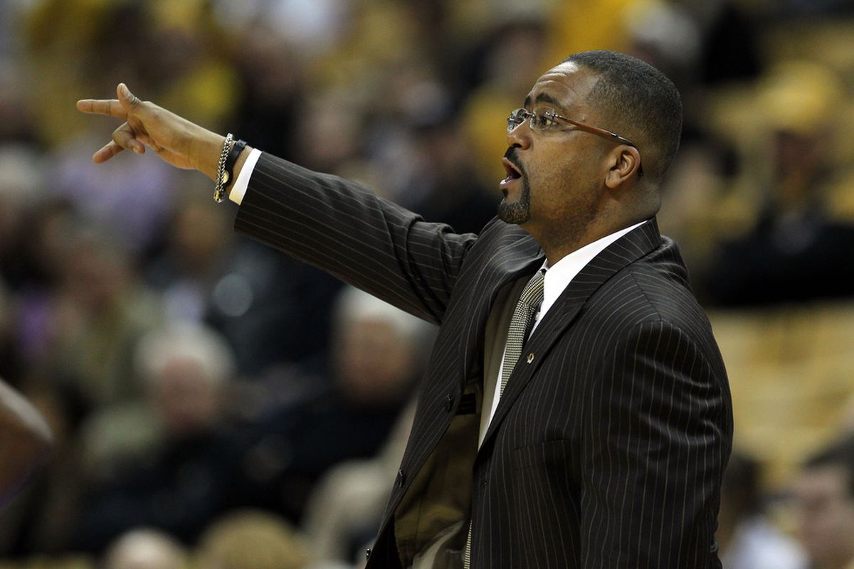 COLUMBIA, MO - DECEMBER 15:  Head coach Frank Haith of the Missouri Tigers gestures during the game against the Kennesaw State Owls on December 15, 2011 at Mizzou Arena in Columbia, Missouri.  (Photo by Jamie Squire/Getty Images)