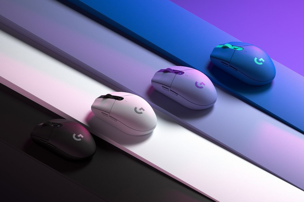 A product shot of four Logitech wireless mice in four different colors